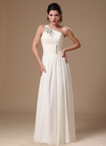 One-shoulder Long Ruched White Chiffon Casual Prom Dress with Appliques