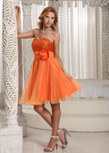 Bright Orange Sweetheart Knee-length Sequin and Casual Dress with Flower