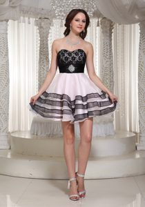 Sweetheart Mini-length Baby Pink and Black Casual Dress with Layers and Applique