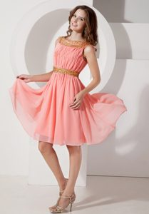 Bateau Watermelon Knee-length Ruched Chiffon Casual Party Dresses with Beading