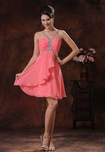 V-neck Knee-length Watermelon Beaded Chiffon Casual Dress for Girl with Ruching