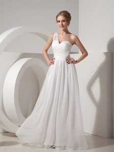 White One-shoulder Long Chiffon Casual Prom Dress with Ruching for Cheap