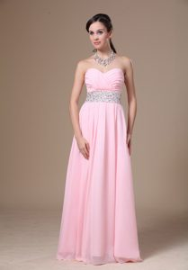 Baby Pink Sweetheart Long Chiffon Casual Dress with Ruching and Beading