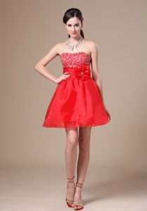 Hot Red Strapless Mini-length Casual Holiday Dress with Beading and Flower