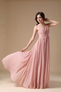 Rose Pink V-neck Ruched Straps Long Chiffon Casual Party Dress in Fashion