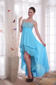 Spaghetti Straps High-low Baby Blue Chiffon Beaded Casual Prom Dress with Pick-Ups