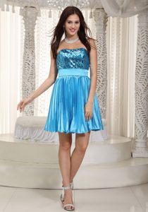 Cheap Teal Strapless Mini-length Sequin and Casual Holiday Dress with Pleats