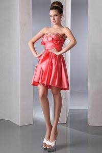 Watermelon Red Strapless Short Casual Prom Dress for Cheap