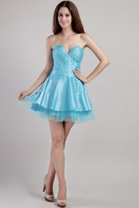 A-line Sweetheart Aqua Blue Casual Cocktail Dress with Beading