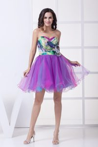 Multi-color Sweetheart Casual Prom Dresses with Hand Flower