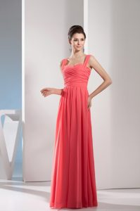 Watermelon Red Straps Long Chiffon Casual Dress with Ruching
