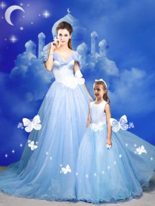 Clearance Tulle Off The Shoulder Sleeveless Court Train Zipper Beading and Bowknot and Hand Made Flower 15 Quinceanera Dress in Light Blue