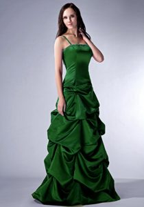 2013 Modern Dark Green Beaded Cheap Evening Dress with Spaghetti Straps
