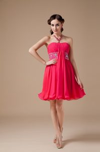 Strapless Mini-length Hot Pink Ruched Strapless Evening Prom Dress with Beading