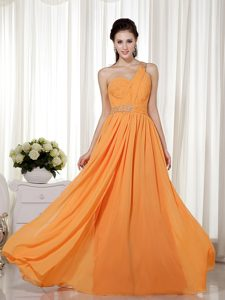 One Shoulder Long Orange Ruched Chiffon Evening Dresses with Beading