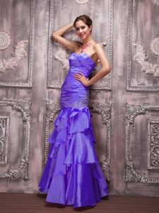 New Ruched Sweetheart Long Purple Evening Dress with Appliques