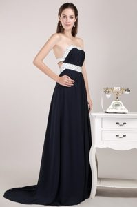 Navy Blue Strapless Brush Train Ruched Chiffon Beaded Evening Dress for Cheap