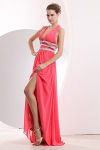 Plunging Neckline Halter Long Watermelon Beaded Evening Dress with Slit