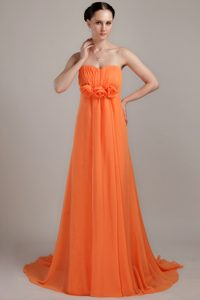 Orange Empire Strapless Brush Train Ruched Chiffon Evening Dress with Flowers