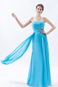 Ruched Sweetheart Long Aqua Blue Chiffon Evening Dress with Appliques