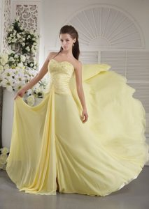 Bright Sweetheart Neck Lace-up Yellow Formal Evening Dress
