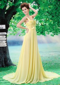 Noble Court Train One Shoulder Yellow Long Evening Dresses for Celebrity