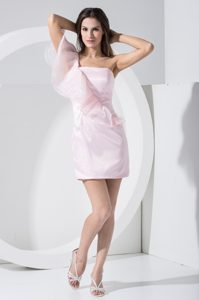 Flattering One Shoulder Mini-length Baby Pink Evening Party Dress Organza