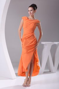 Clearance Zipper-up Orange Tea-length Chiffon Evening Dresses for Girls