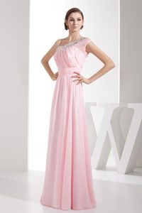 Pretty One Shoulder Side Zipper Baby Pink Evening Dress with Beading