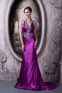 Sexy Elastic Woven Halter Beaded Eggplant Purple Evening Dress