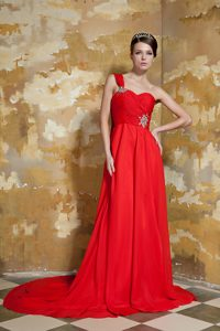 Trendy One Shoulder Watteau Train Chiffon Red Evening Dress Patterns