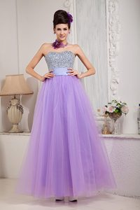 2013 Tulle Lavender A-line Maxi Evening Dress with Beading