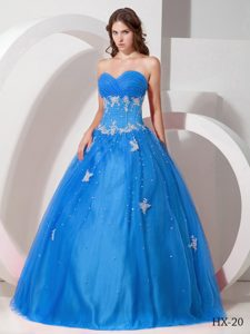 Sweetheart Tulle Sweet 15 Dress with Appliques and Beading in Aqua Blue