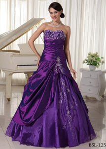 and Purple Quinceanera Gown with Appliques and Beading