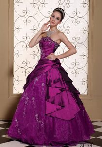 Modest Embroidery and Quinceaneras Gowns in Fuchsia