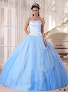 Affordable Long Tulle Beaded Quinceaneras Dresses in Light Blue
