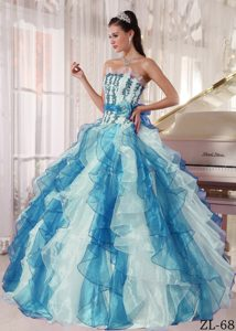 Colorful Strapless Quinces Dresses with Beading on Promotion
