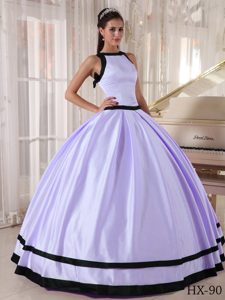 Elegant Lilac and Black Bateau Quinceanera Gowns to Floor-length