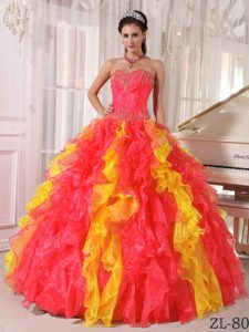 Coral Red and Orange Sweetheart Quince Dresses with Sequins