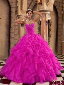 Hot Pink Sweetheart Beaded and Ruffled Quinceaneras Gowns
