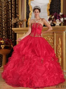 Nice Red Strapless Quinceanera Gown with Appliques and Ruffles
