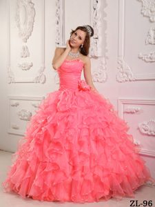Romantic Beaded Watermelon Sweet Sixteen Quinceanera Dresses