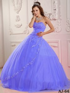 Classical Lilac Sweet Sixteen Dresses with Appliques and Beading in Tulle