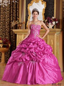 Hot Pink Embroidered Fashionable Sweet 15 Dresses with Pick-ups