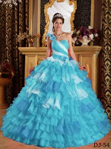 Aqua Blue One Shoulder Ruffled Beautiful Dresses for Quince under 250