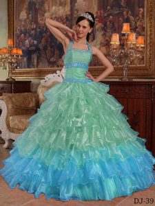 Exquisite Halter Top Beaded Sweet Sixteen Dresses in Apple Green and Blue