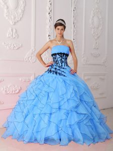 Ruffled Strapless Aqua Blue Spring Fashionable Quinceanera Dress