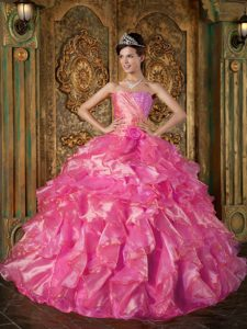 Hot Pink Beaded and Ruffled 2014 Romantic Dresses for Quince