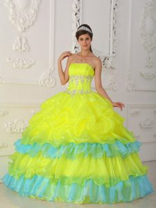 Beaded Yellow and Blue Wonderful Quinceaneras Dress with Ruffles
