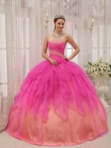 Discount Beaded Long Quinceanera Gown in Hot Pink and Yellow